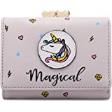 moca Magical Unicorn Short Mini Wallet Purse for Womens Girls Ladies Short Mini Small Clutch Wallet Cash Card Coin Holder Pur