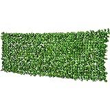 Outsunny kunsthaag privacyhaag terras wanddecoratie wanddecoratie lichtgroen 300 x 100 cm