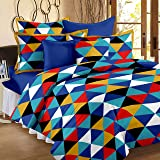 Story@Home 120 TC Cotton Geometric Style Triangle Pattern 1 Piece Double Bed Size Bedsheets with 2 Complementary Pillow…