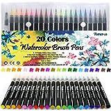 Lot de 20 stylos pinceaux Fournitures artistiques Pour livres de coloriage, à faire soi-même - Esquisses, carnet, calligraphi