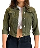 Shocknshop Full Sleeves Comfort Fit Regular Green Denim Ladies Jacket for Women (JKT22)