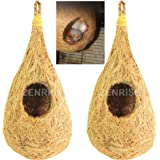 ZENRISE Hanging Coir Bird Nest for Small Birds Balcony Cage and Garden (Beige) - Pack of 2