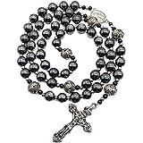 Nazareth Store Rosario in Ematite Collana con Perline di Pietra Nera Medaglia con miracoli in Metallo e Rosario a Croce per U