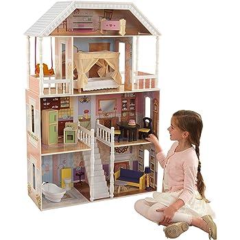 KidKraft 65023 Maison De Poupees En Bois Savannah Incluant Accessoires Et Mobilier 4 Etages Jeu Pour 30 Cm