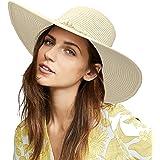 accsa Sombrero de Paja para Mujer Ajustable Pamelas de Playa con ala Ancha Plegable Sombrero de el Sol para Playa Sombreros p