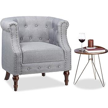 Relaxdays Retro Sessel, Chesterfield Design, Stoffbezug, Nietenbesatz,  Bequemes Sitzpolster, HxBxT: 76x71x67cm, Grau