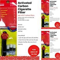Smoking Filter - Reusable Smoking Filter, Cigarette Filter - Smoking Safety Filter, Smoking Filter, 1 Filter Can Be Use With 20 Cigarettes,Pack of 3, 3 Pipe, 9 Filters, Very effective, Made In Korea-