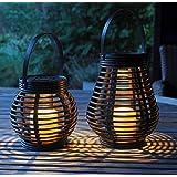 Gadgy Lampe Solaire Lanterne Set Rotin Effet | Marron Brun Plastique Marbré | 2 Pièces Forme de Larme et Ronde pour l'Extérie