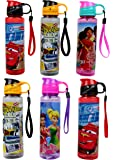 Perpetual Bliss Disney Theme Water Bottle for Boys|Girls|Kids Birthday Party Return Gift (Pack of 6)