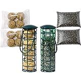 Kit de démarrage pour Oiseaux avec 2 mangeoires remplies, 2 Boules de Graisse et graines de Tournesol.