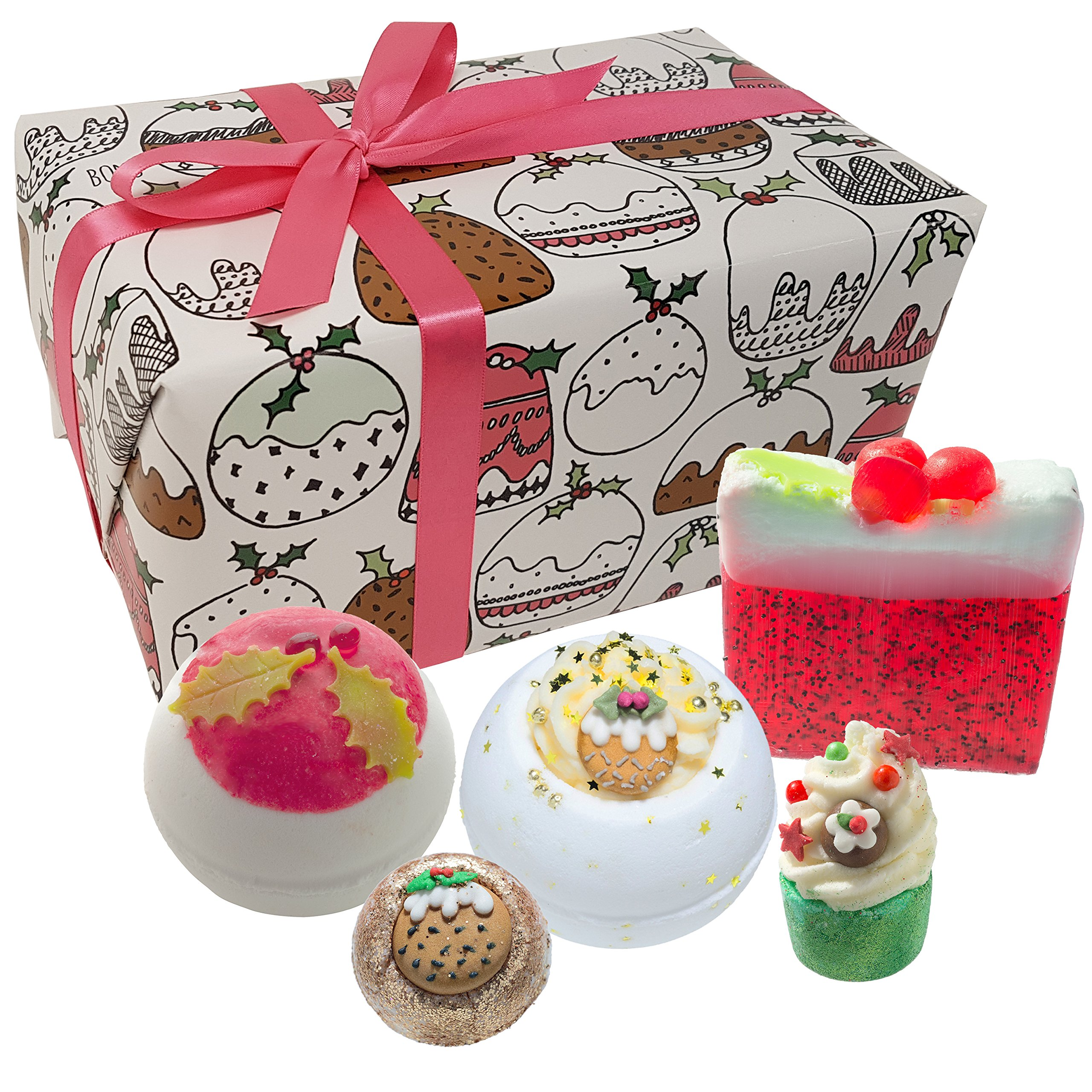 Bomb Cosmetics Figgy Pudding Handmade Wrapped Gift Pack [Contains 5-Pieces], 500g