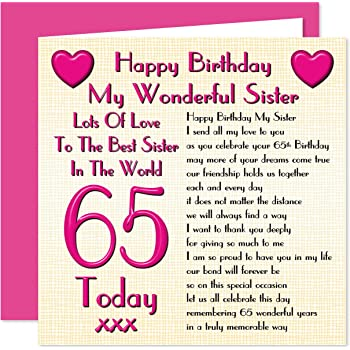 Sister 65th Happy Birthday Card Lots Of Love To The Best Sister In