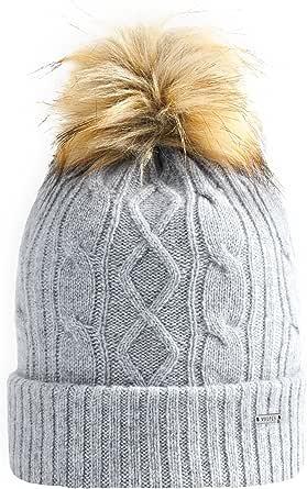 Vulpés Beanie Mütze Damen Intelligente Beheizbare Mütze Mit Bommel Für Warme Ohren Lichtgrau Bekleidung