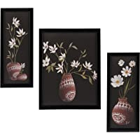 3 PC Set of Floral Paintings Without Glass 5.2 X 12.5, 9.5 X 12.5, 5.2 X 12.5 inch