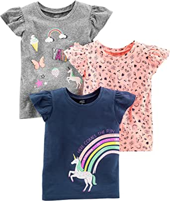 Simple Joys by Carter's 3-Pack Short-Sleeve Graphic Tees Bambina, Pacco da 3