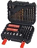 Black+Decker Bohrer-und Schrauberbit-Set (50-teilig, Metall-, Stein-und Holzbohrer, Schrauberbits, Stecknüsse) A7188