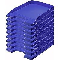 Leitz, Corbeille à courrier Leitz Plus Slim, Bleu, Lot de 10, 52370035