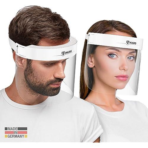 HARD 1x Pro visor Visiera protettiva, Certificato medico, Schermo facciale di sicurezza Antinebbia Face Shield, Prodotto in Germania, Adulti - Bianco/Bianco