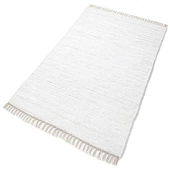 Baumwollteppich weiß  PuRo Lifestyle HWT-107000-120 Teppich, 100% Baumwolle, 120 x 180cm ...