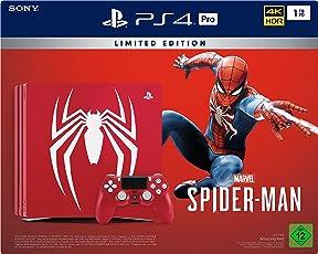 PlayStation 4 Pro - Konsole (1TB)  Limited Edition Spider-Man Bundle inkl. 1 DualShock 4 Controller, rot
