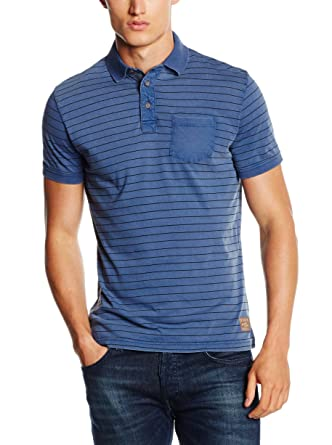 TOM TAILOR Polo with Contrast Pocket, Polo Homme, Bleu (Estate Blue), Small