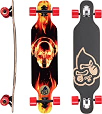 BIKESTAR Premium Canadian Maple Drop Through Flush Cut Pro Longboard Skateboard für Kinder auch Anfänger ab ca. 6-8 Jahre ★ 65mm Kids Cruiser/Dancer Edition ★