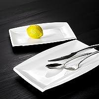 MALACASA, Série Blance, 2pcs Assiettes Plates Porcelaine, Plat Rectangulaire Assiettes de Présentation