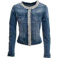 JOPHY & CO. Giacca Jeans Denim Donna Corta con Nastro Decorativo di Perle e Brillanti su Rifiniture (cod. JC050)
