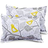 """HUESLAND by Ahmedabad Cotton Comfort 144 TC Cotton 17""""x27"""" 2 Pillow Covers - Grey, Yellow"""