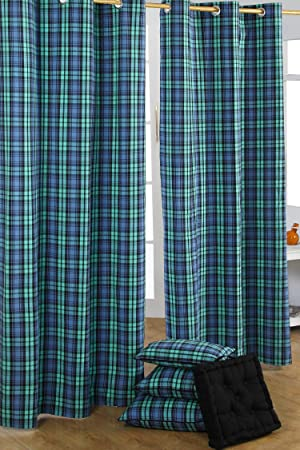 Homescapes Pair of 100% Cotton Ready Made Curtains - Black Watch ...