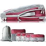TRAVEL DUDE Organizer Valigie | Cubi con Compressione | Set da Viaggio per zaini o bagagli a mano | Organizer Valigia (rosso