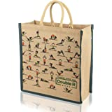 DOUBLE R BAGS Eco Reusable Yoga Print Jute Bags for Carry Milk Grocery Fruits Vegetable Shopping with Hard Grip Handle for Me
