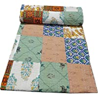 Vinay Crafts Handcrafted Cotton Patch Work Indian Kantha Quilt Bed Spread Blanket Single Size Coverlet for Single Bed…