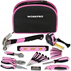 WORKPRO 103-tlg. Lady Werkzeug Set mit Tasche, Rosa Werkzeugkoffer Geschenk für Frauen Bastler Handwerker