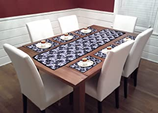 Reliable Trends Table Runners with Placemats for 6 Seater Dining Table (Grey)