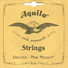 Aquila 4U Aquila Sopran-Ukulele Satz, Standard-Stimmung 4U, New Nylgut,Key of C, GCEA, Saitenlänge 60 cm