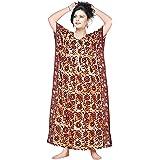 Satyam Nighties Women Large Size 100% Cotton Wax Batik Print Kaftan Nighty