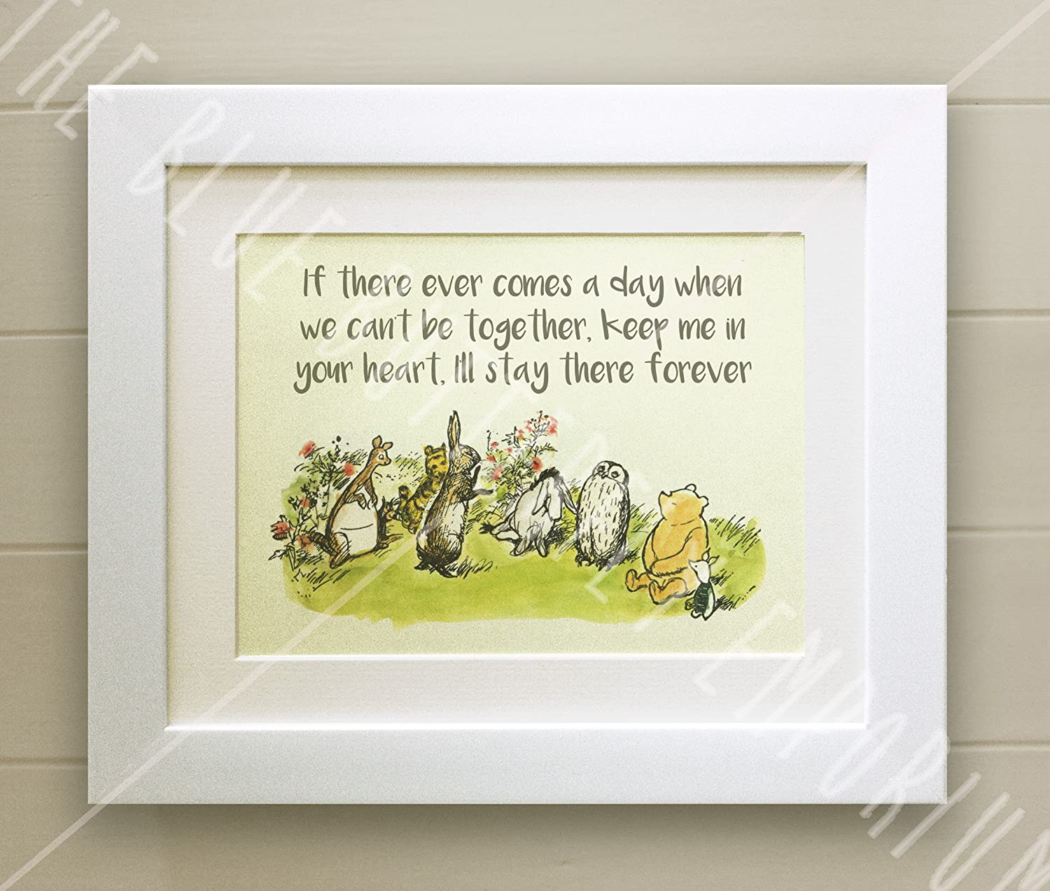 Winnie the pooh framed quote print new babybirth nursery winnie the pooh framed quote print new babybirth nursery picture gift pooh bear if there every comes a day when we cant be together white wash shabby negle Image collections