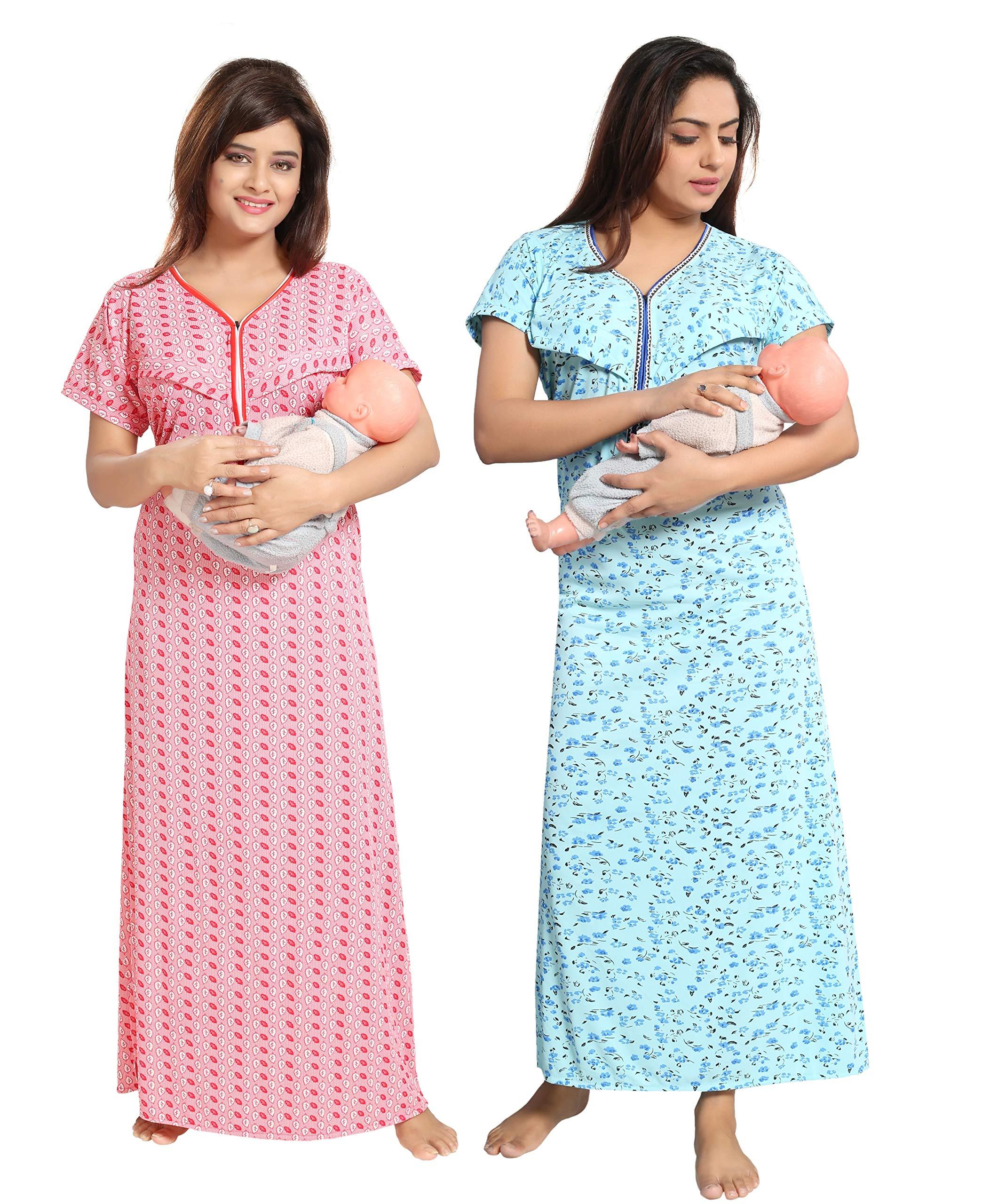 c3d5f11b5fe0b TUCUTE Women Beautiful Leaf Print with + Baby Shade Floral Print  Feeding/Pregnancy Wear/Maternity/Nursing Nighty/Night ...