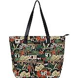 COLES Women's Forest Print Digital Art Tote Bag (Multicolour)