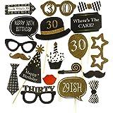 Oblique Unique® 20 Stück 30. Geburtstag Foto Props Masken Kerze Torte Fotorequisiten Ballon Partydekoration