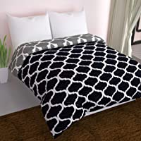 Divine Casa Microfiber Reversible Lightweight Single Bed Comforter (Abstract Black and Grey, 110 GSM)