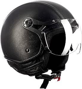 Westt Classic Sun Jethelm Motorradhelm Helm Vintage Stil Matt Schwarz Ece Zertifiziert Sport Freizeit