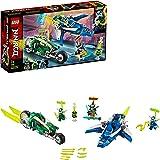 LEGO 71709 Ninjago Vehículos Supremos de Jay y Lloyd, Juguete de Construcción de Avión Deslizador y Moto Ninja con Mini Figur