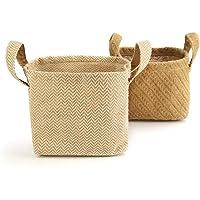 Paniers de rangement en jute de coton - Paquet de 2 | Organisateurs en coton et jute avec poignées de transport | Lin de…