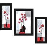 SAF Set of 3 Flower Floral UV Coated Home Decorative Gift Item Frame Painting 13.5 inch X 22.5 inch SANFS62