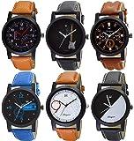 OM DESIGNER Analogue Men's Watch (Multicolour Dial Multicolour Strap) (Pack of 6)