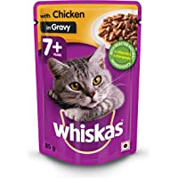 Whiskas Adult (+1 year) Wet Cat Food, Chicken in Gravy, 85g Pouch