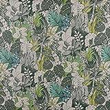 Tischdeckenstoff Wachstuch beschichtete Baumwolle Blätter Farne natur grün mint blau