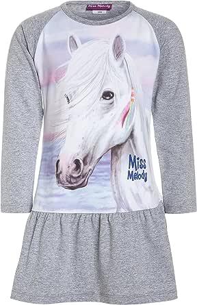 84061 776 Kinder M/ädchen Kleid Shirt-Rock-Look mit Pferdeaufdruck